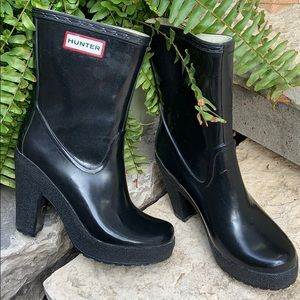 HUNTER Arine Short Black Rain Boots US 5M Heeled